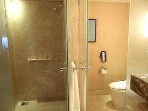 マリーナベイサンズホテル(シンガポール)の部屋のバスルームシャワーとトイレ