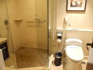 マニラホテル(フィリピン・マニラ)の部屋のバスルームシャワー室とトイレ