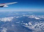 富士山の飛行機からの眺め