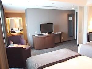 ホテルニューオータニの部屋のテレビ側とバスルーム側