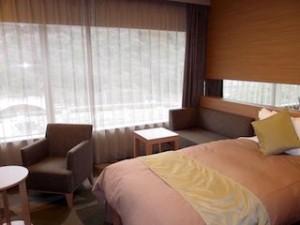 湯本富士屋ホテルの部屋のベッドからみた景色