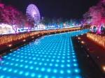 ハウステンボスのイルミネーション「光の王国」光と噴水の運河
