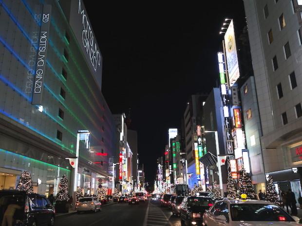 銀座中央通りの夜景、東京(The night view of Ginza, Tokyo Japan)