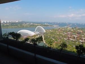 マリーナベイサンズホテル(シンガポール)の部屋から見たガーデン・バイ・ザ・ベイの景色