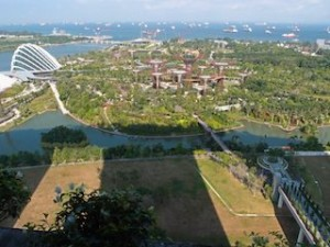マリーナベイサンズホテル(シンガポール)の部屋から見たガーデン・バイ・ザ・ベイとホテルシルエット