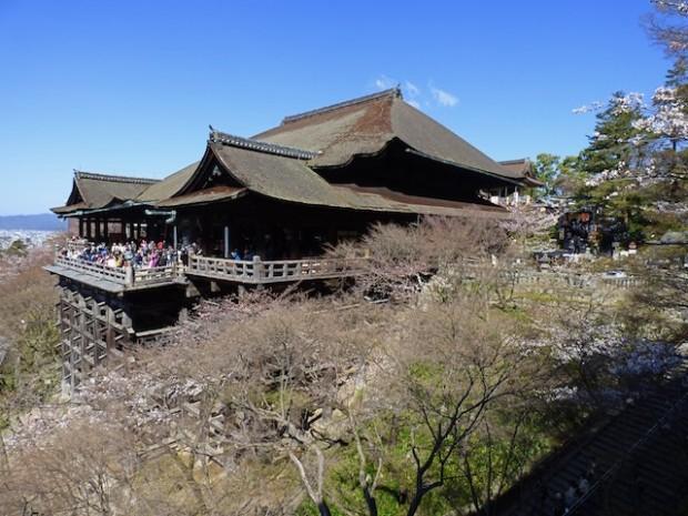 清水寺全景、春の季節、桜をみながら