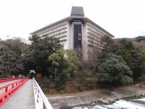 湯本富士屋ホテルの箱根湯本駅側から見た外観