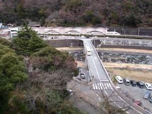 湯本富士屋ホテルの部屋からの景色、箱根湯本駅