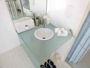 ウィンディ・アース・サイレントクラブ[Windy Earth SILENT CLUB]の部屋の洗面台とアメニティ