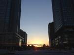 東京駅丸の内中央から見た夕陽
